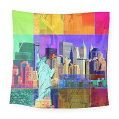 New York City The Statue Of Liberty Square Tapestry (large)