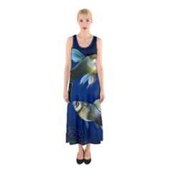 Marine Fishes Sleeveless Maxi Dress