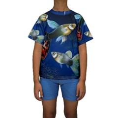 Marine Fishes Kids  Short Sleeve Swimwear