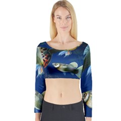 Marine Fishes Long Sleeve Crop Top