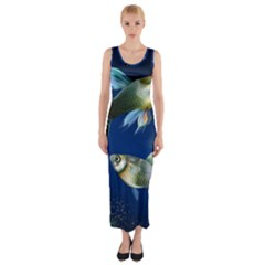Marine Fishes Fitted Maxi Dress