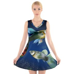 Marine Fishes V-Neck Sleeveless Skater Dress