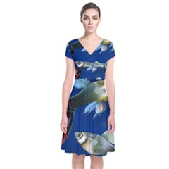 Marine Fishes Short Sleeve Front Wrap Dress
