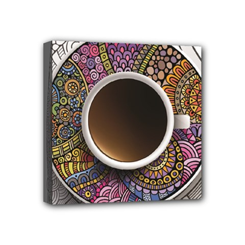 Ethnic Pattern Ornaments And Coffee Cups Vector Mini Canvas 4  X 4