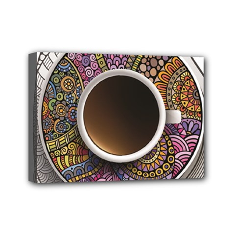 Ethnic Pattern Ornaments And Coffee Cups Vector Mini Canvas 7  X 5