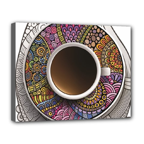 Ethnic Pattern Ornaments And Coffee Cups Vector Canvas 14  X 11