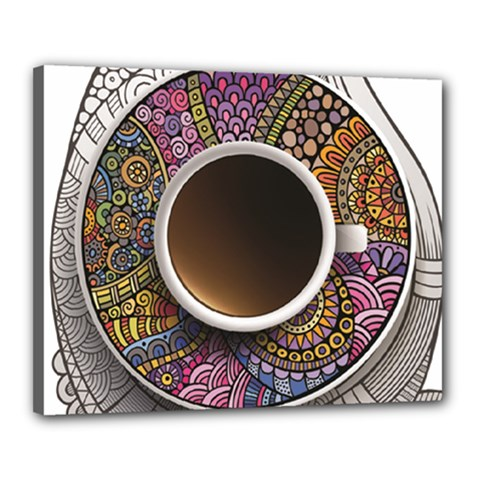 Ethnic Pattern Ornaments And Coffee Cups Vector Canvas 20  X 16