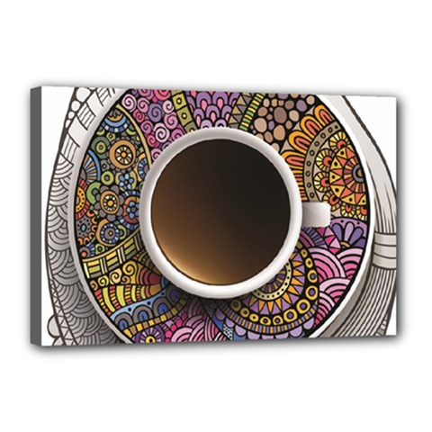 Ethnic Pattern Ornaments And Coffee Cups Vector Canvas 18  X 12
