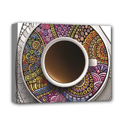 Ethnic Pattern Ornaments And Coffee Cups Vector Deluxe Canvas 14  x 11