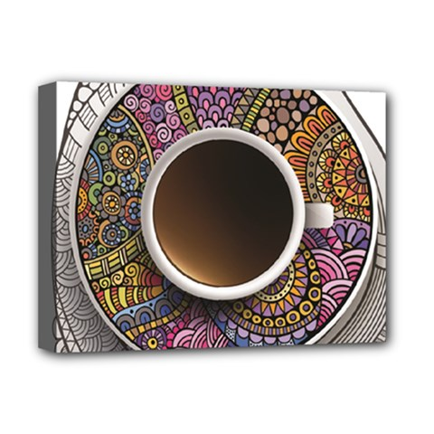 Ethnic Pattern Ornaments And Coffee Cups Vector Deluxe Canvas 16  x 12