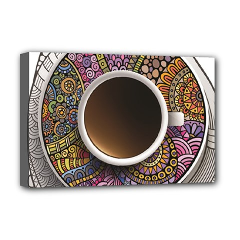 Ethnic Pattern Ornaments And Coffee Cups Vector Deluxe Canvas 18  X 12