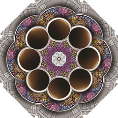 Ethnic Pattern Ornaments And Coffee Cups Vector Hook Handle Umbrellas (large)