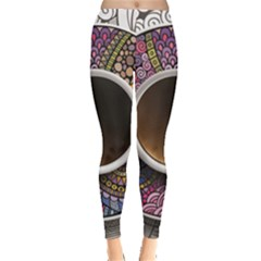 Ethnic Pattern Ornaments And Coffee Cups Vector Leggings