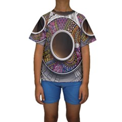 Ethnic Pattern Ornaments And Coffee Cups Vector Kids  Short Sleeve Swimwear