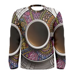 Ethnic Pattern Ornaments And Coffee Cups Vector Men s Long Sleeve Tee