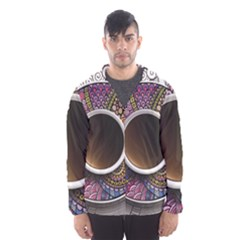 Ethnic Pattern Ornaments And Coffee Cups Vector Hooded Wind Breaker (men)