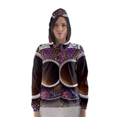 Ethnic Pattern Ornaments And Coffee Cups Vector Hooded Wind Breaker (women)