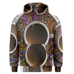 Ethnic Pattern Ornaments And Coffee Cups Vector Men s Pullover Hoodie