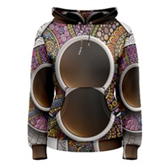 Ethnic Pattern Ornaments And Coffee Cups Vector Women s Pullover Hoodie