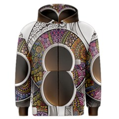 Ethnic Pattern Ornaments And Coffee Cups Vector Men s Zipper Hoodie