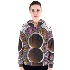 Ethnic Pattern Ornaments And Coffee Cups Vector Women s Zipper Hoodie