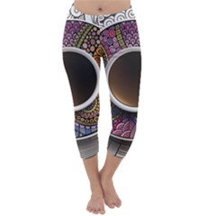 Ethnic Pattern Ornaments And Coffee Cups Vector Capri Winter Leggings