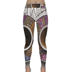 Ethnic Pattern Ornaments And Coffee Cups Vector Classic Yoga Leggings