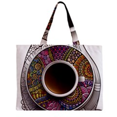 Ethnic Pattern Ornaments And Coffee Cups Vector Zipper Mini Tote Bag