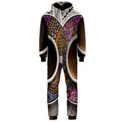 Ethnic Pattern Ornaments And Coffee Cups Vector Hooded Jumpsuit (Men)