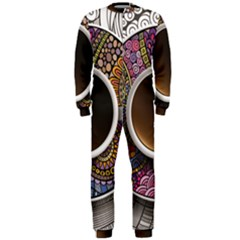 Ethnic Pattern Ornaments And Coffee Cups Vector Onepiece Jumpsuit (men)