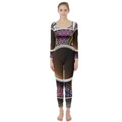 Ethnic Pattern Ornaments And Coffee Cups Vector Long Sleeve Catsuit