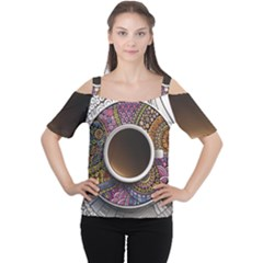 Ethnic Pattern Ornaments And Coffee Cups Vector Women s Cutout Shoulder Tee