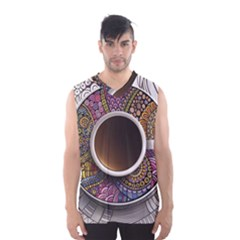 Ethnic Pattern Ornaments And Coffee Cups Vector Men s Basketball Tank Top