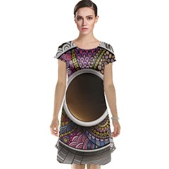 Ethnic Pattern Ornaments And Coffee Cups Vector Cap Sleeve Nightdress