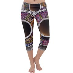 Ethnic Pattern Ornaments And Coffee Cups Vector Capri Yoga Leggings