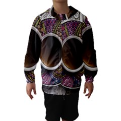 Ethnic Pattern Ornaments And Coffee Cups Vector Hooded Wind Breaker (Kids)