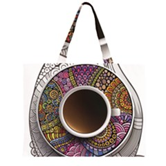 Ethnic Pattern Ornaments And Coffee Cups Vector Zipper Large Tote Bag