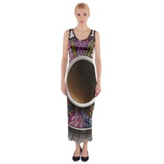 Ethnic Pattern Ornaments And Coffee Cups Vector Fitted Maxi Dress