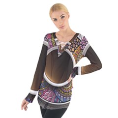 Ethnic Pattern Ornaments And Coffee Cups Vector Women s Tie Up Tee
