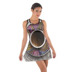 Ethnic Pattern Ornaments And Coffee Cups Vector Cotton Racerback Dress