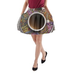 Ethnic Pattern Ornaments And Coffee Cups Vector A-Line Pocket Skirt