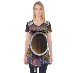 Ethnic Pattern Ornaments And Coffee Cups Vector Short Sleeve Tunic