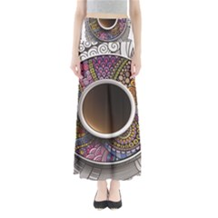 Ethnic Pattern Ornaments And Coffee Cups Vector Maxi Skirts