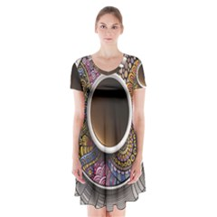 Ethnic Pattern Ornaments And Coffee Cups Vector Short Sleeve V Neck Flare Dress