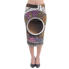 Ethnic Pattern Ornaments And Coffee Cups Vector Midi Pencil Skirt