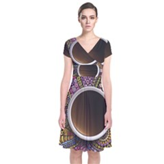 Ethnic Pattern Ornaments And Coffee Cups Vector Short Sleeve Front Wrap Dress