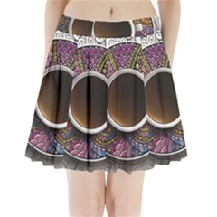 Ethnic Pattern Ornaments And Coffee Cups Vector Pleated Mini Skirt