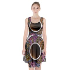 Ethnic Pattern Ornaments And Coffee Cups Vector Racerback Midi Dress