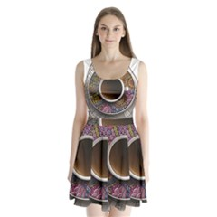 Ethnic Pattern Ornaments And Coffee Cups Vector Split Back Mini Dress