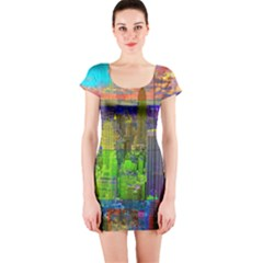 New York City Skyline Short Sleeve Bodycon Dress